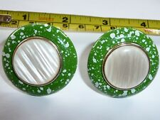 VINTAGE BIG FUN  CONFFETTI SPECKLED CLIP ON  EARRINGS 1970-80'S