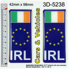 2x IRL Ireland Euro stars Irish Flag Domed Car Number Plate Stickers Badge Decal