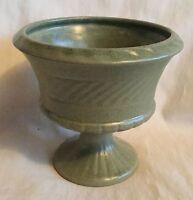 Beautiful Haeger Sage Green Speckled Pedestal Ceramic Planter Vase
