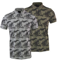 Mens Camo Camouflage Fashion Polo Shirt Short Sleeve Casual Cotton Summer Top