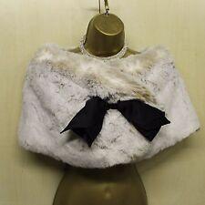 KAREN MILLEN Ivory Faux Fur Bow Detail Shrug Stole over dress Size 3 = UK 12-14