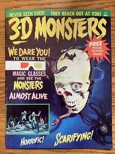 1964 3-D MONSTERS #1 Magazine W/ GLASSES Horror VF- Rare