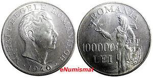 ROMANIA  Mihai I  Silver 1946  100 000 Lei  aUNC  25g  37mm  KM# 71