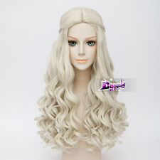 Manga Hair for White Queen Long Curly White Alice Synthetic Cosplay Wig + Cap
