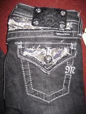 NWT Girl's MISS ME Jeweled BLACK Boot Cut Jeans JPK5124B5..size 12