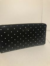 Kate Spade Brooks Drive Lacey Wallet Zip Around Purse Black White Dots New Nwt