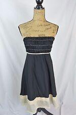 The Limited - Black BOHO chic SILK blend strapless dress BEIGE crochet, size 2