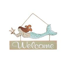 Wood and Tin Beach Colors Mermaid Welcome Sign by C&F Home