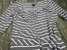 H&M Ladies Brown White Stripe Wrap Dress  Size 8
