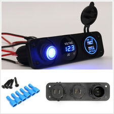 Multifunction 12V Voltmeter Dual USB Car Charger Rocker Switch Cigarette Lighter