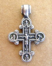 Cross Silver Russian, Antique Sterling, Jesus Christ and Mother Of God, ICON
