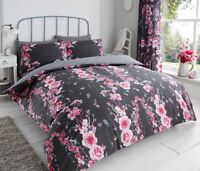 DOUBLE DUVET QUILT COVER PILLOW CASES AND FITTED SHEET - BLACK FLOWER  PRINT