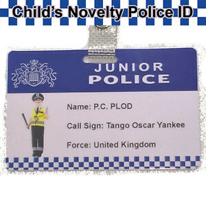 Child's Police ID Badge Quality PVC Novelty ID Card, Toy, Stage Prop. | Free P&P