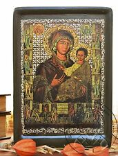 Virgin Mary Icon Gold Plating Antique Byzantine Art Religious Gift Home Decor