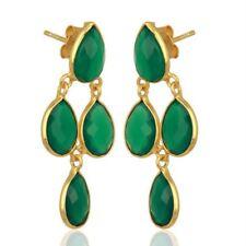 Green Onyx Dangle 14K Gold Plated Sterling Silver Earrings Gemstone Jewelry
