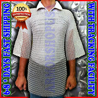 ALUMINIUM ROUND RIVETED CHAINMAIL SHIRT MEDIEVAL CHAIN MAIL HAUBERGEON COSTUME,