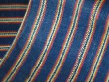 Antique 19thC Fabric Vtg Turkish Syrian Cotton 5 Yds Striped Indigo Blue Unused