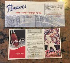 1983 Atlanta Braves Baseball Schedule And Season Ticket Form