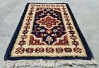 Authentic Hand Knotted Vintage indo Wool Area Rug 2 x 1 Ft (11971 KBN)