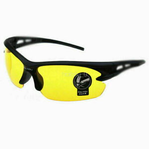 Men's Night Vision Driving Glasses UV400 Anti Glare Yellow HD Lens Plastic Frame