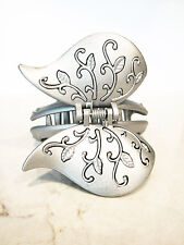 Large silver acrylic  butterfly hair claw clips with  detail