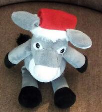 Kinder Surprise Plush Collectible Grey & White Donkey wearing Santa Hat