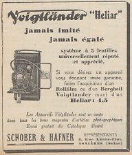 Z9172 Appareil Heliar VOIGTLANDER -  Pubblicità d'epoca - 1929 Old advertising