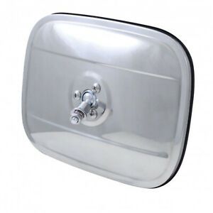 """1947-72 6""""X8"""" STAINLESS STEEL EXTERIOR RECTANGULAR SQUARE REAR VIEW MIRROR HEAD"""
