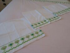 Vintage Springmaid Percale Embroidered King Bed Flat Sheet & 3 Pillowcases