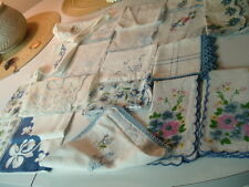 Vtg Lot Of `19 Blue Lace Edge -Flower Etc Handkerchief'S