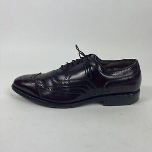 Allen Edmonds 7.5 D Burguny McAllister Wingtip Lace Up Formal Dress Shoes Oxford