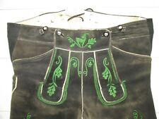 Hirschleder Plattlerhose beide Seiten erweitert Gr. 56 braun grün bestickt Top