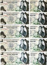 LOT Colombia, 10 x 20 Pesos Oro, 1982, Pick 409 (409d), UNC