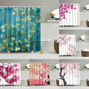 Cherry Blossom Shower Curtain Spring Season Pink Flower Bathroom Decor Washable