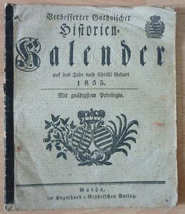 Kalender, Verbesserter Gothaischer Historien kalender auf das Jahr 1835