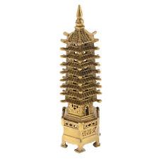 Chinese Buddhism Brass WenChang Stupa Pagoda Tower Statue Desktop Ornament L