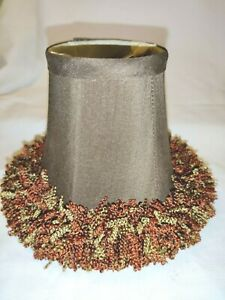 """Chic Brown Bell Shaped 5"""" Clip On Lamp Shade Multi Color Fringe Earth Tones"""