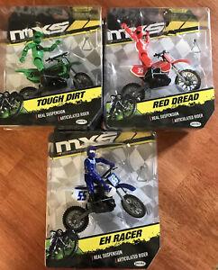 3 Motor Cross Green Red Blue MXS Wicked Racing Moto EXTREME SPORTS NEW Jakks