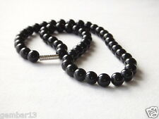 "Genuine Natural 8mm Black Onyx Beads necklace 16"" 8 mm black onyx beads"