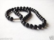 """echten natürlichen 8mm SCHWARZER ONYX Perlen Halskette 16 """" 8 MM"""