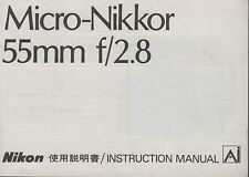 Nikon Micro 55mm F2.8 Macro Original Instruction Manual User Guide