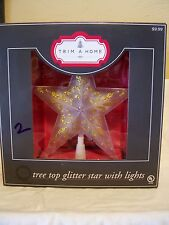 8 IN TRANSPARENT GOLD GLITTER STAR ILLUMINATED TREE TOPPER CHRISTMAS DECORATION