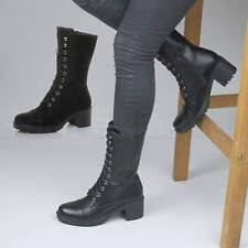 Womens ladies chunky heel lace up zip military combat ankle calf boots size
