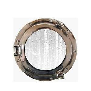 "Aluminum Ship's Porthole Glass Window 11"", Chrome Maritime Wall Decor"