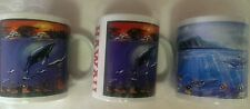 3 New Maui Hawaii Coffee Cups Mugs Souvenir w Whales Tropical Fish Reef Turtles