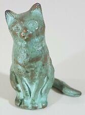 """Vintage Antique Bronze Cat Sculpture Statue ~ 2 1/4"""" H x 1 1/2"""" W"""