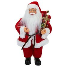 Christmas Decoration - 30cm Standing Santa - Red - Holding a Present