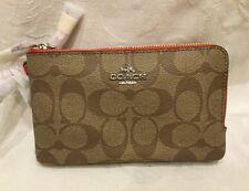 New COACH Signature Khaki Orange Double Zip Corner Wallet Wristlet Purse F87591