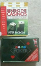 Pocket Poker set - Travel Game in Storage Tin Poker Set and a Poker Book