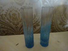 Vintage retro pair of Art Glass Blue Marbled Bud Vases 15cm tall